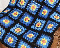 """Hecho a la medida - NUEVA casera/artesanal Plaza de abuela ganchillo afgano/manta-50 X 58""""-Elige tus propios colores"""