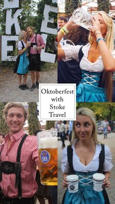 Oktoberfest with Stoke Travel Festival Gear, Festival Outfits, German Lederhosen, Giant Truck, Beer Maid, First Bus, Time Of Our Lives, People Running, Happy We