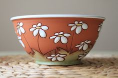 Bowl with daisies by TerrysPotteryShop on Etsy, $26.00
