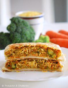 Probieren und Studieren: Vegetarische Nudel-Gemüse-Pastilla