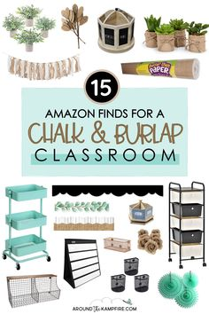 Whether you are looking for ideas for a modern farmhouse theme, calming neutral colors, or a more rustic look, this post will help you create a chalkboard and burlap classroom theme. I've put together an entire collection of fantastic finds on Amazon to help you create a beautifully organized, calm and cohesive classroom using burlap! Classroom Decor Themes, Classroom Quotes, Classroom Setup, Kindergarten Classroom, Burlap Bulletin Boards, Teacher Table, Teaching Ideas, Teaching Resources, Basket Shelves