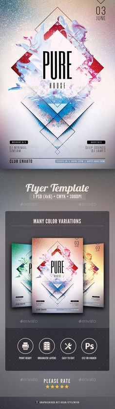 Pure House Flyer TemplateThis flyer template is great for any type of event. The geometric shapes have a unique feel and add an extra layer of complexity to the design. Whether you host a Techno / EDM / Electro / House / Trance / Progressive / Dubstep / Dance / Alternative /Drum & Bass or Minimal music event¡­ with this unique poster design you wil