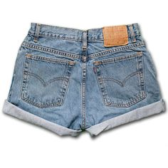 Vintage 90s Levi's Light/Medium Blue Wash High Waisted Rise Cut Offs... (45 CHF) ❤ liked on Polyvore featuring shorts, levi shorts, high rise jean shorts, denim shorts, jean shorts and cut-off shorts