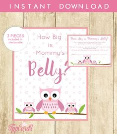 Owl Baby Shower How Big is Mommy's Belly Printable by TppCardS