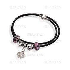 pulsera de abalorios con trebol en acero para mujer-SSBTG624802