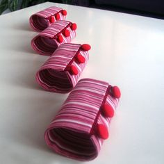 Napkin Rings Holder Slim Striped Handmade Spring by HomeOfficeDeco, $20.00