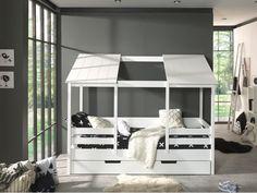 Hausbett - weiß - teilmassiv - offenes Dach - cm RollerRoller House bed - white - partially s Bunk Beds Boys, Kid Beds, White Bedding, Bedding Sets, Modern Boys Rooms, House Beds For Kids, Bed Sets, Bedroom Loft, Bed Furniture