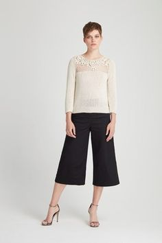 Lucinda Cropped Wide Leg Trousers in Black