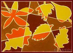 Cubist style autumn leaves art lesson