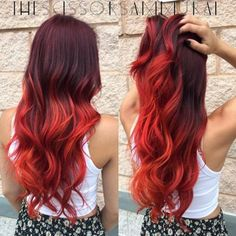 Red Balayage & Hair Highlights : Red Hair Color Inspiration The Right Hairstyles for You Red Ombre Hair, Bright Red Hair, Red Hair Color, Hair Colors, Violet Hair, Purple Hair, Color Red, Ombré Hair, New Hair