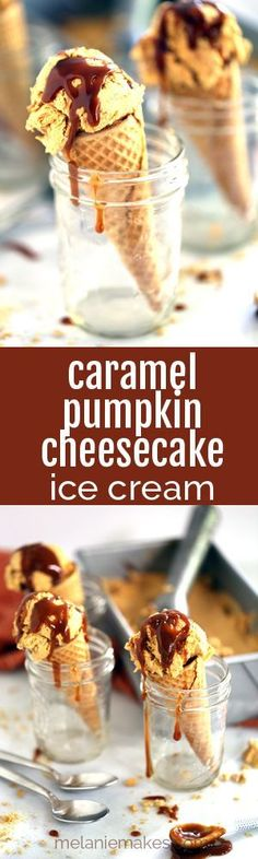 Pumpkin and caramel are swirled throughout a cheesecake ice cream base to create a decadent autumn ice cream treat. This easy seven ingredient ice cream takes just minutes to create yet you'll be remembering this Caramel Pumpkin Cheesecake Ice Cream all year long.
