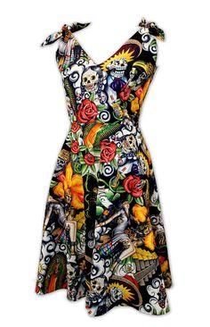 Day of the Dead Fiesta Dia De Los Muertos Custom Rockabilly Dress Retro Dress 1950s by PiecesofTimesPast, $120.00