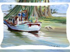 Jeannie Shrimp Boat Indoor/Outdoor Throw Pillow