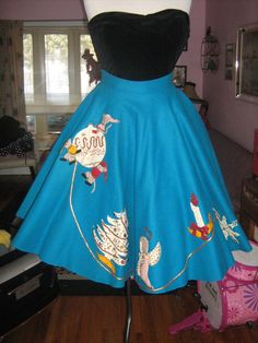 @Sydney Pirtle 1950's Novelty Blue Felt Circle Skirt by Atomicblondevintage, $35.00