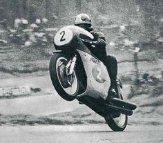 Giacomo Agostini wheelies the MV agusta 350/3