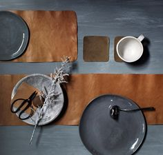 Leather table runners by Saint Crispin. Styling - Glen Proebstel via the design files