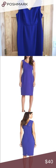 Royal blue v neck dress V neck dress with cross over lay on the shoulders and mesh detailing on back. Andrew Marc Dresses Midi