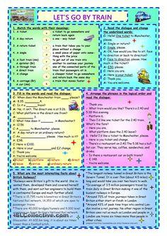 Let's Go By Train worksheet - Free ESL printable worksheets made by teachers Easy Grammar, Teaching English Grammar, English Writing Skills, English Reading, English Language Learning, English Lessons, English Vocabulary, Learn English, English For Tourism