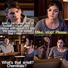 """The Bin of Sin"" - Toby and Tanner found something in the barrel Pretty Little Liars Meme, Pretty Little Liers, Netflix Series, Tv Series, Pll Logic, Mike Montgomery, Pll Quotes, Misery Loves Company, Cody Christian"
