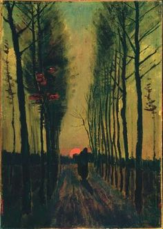 Vincent van Gogh's Lane of Poplars at Sunset is an oil on canvas (18x12-3/4 inches) housed in the Kröller-Müller Museum in Otterlo, Netherlands.