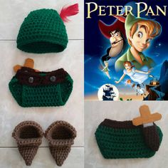 Crochet Disney's Peter Pan (beanie/hat, diaper cover, and booties) on Etsy, $35.00