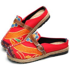 Colorful Embroidered Buckle National Wind Backless Loafers For Women