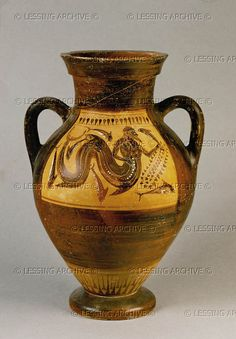 Sea-god with dolphin and ivy. Amphora, black-figured (6th BCE), Pontic, from Vulci 42 x 26.9 cm Inv. F 1676 Staatl.Museen,Antikensammlung, Berlin, Germany