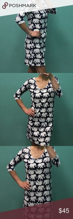 Lilly Pulitzer dress Navy and white Lilly Pulitzer navy blue and white elephant print dress! Size extra small- with also fit a small! 100% Pima cotton- soft and comfortable! Lilly Pulitzer Dresses Midi