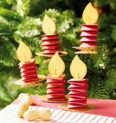 Paper Candle Ornament or Christmas Decoration. Ideas for kids crafts or activities. (Diy Candles For Kids) Preschool Christmas, Noel Christmas, Christmas Crafts For Kids, Christmas Activities, Christmas Projects, Winter Christmas, Holiday Crafts, Holiday Fun, Christmas Ornaments