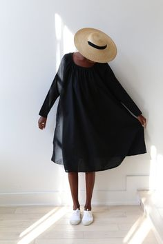 61b9b13fca64 Pip Squeak Chapeau Marcella Dress Black Cotton Batiste