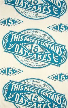 Oatcakes Food Packaging Tea Towel #style #typography