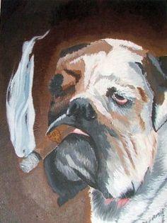Bulldog smoking