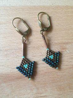 Boucles d'oreille en perles tissée par Azetama sur Etsy