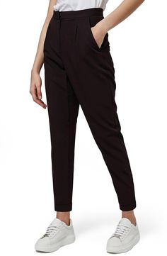 Topshop Notch Back Tapered Trousers (Petite)