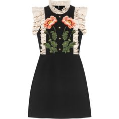 Gucci Floral embroidered wool silk dress ($3,980) ❤ liked on Polyvore featuring dresses, vestido, black, embroidery dress, floral embroidery dress, gucci dress, flower printed dress and flower applique dress