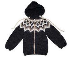 Isländsk stickad tröja med luva - BARN - 3-4 år