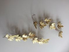 2 Mid-Century Vintage Brass Maple Leaf Metal Wall Hanging  FREE SHIPPING