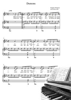Ноты Imagine Dragons - Demons - Пианино&Вокал Sheet Music, Notes, My Love, Report Cards, Music Sheets