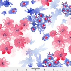 Watercolor Floral Fabric - Watercolor Floral By Lydia_Meiying- Red White Blue Watercolor Flower Cotton Fabric By The Yard With Spoonflower by Spoonflower on Etsy https://www.etsy.com/ca/listing/507463771/watercolor-floral-fabric-watercolor