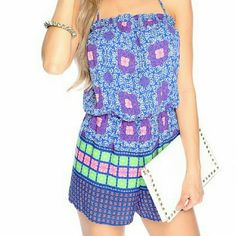 Fun summer Romper Brand new never used. Blue, pink, green romper Shorts