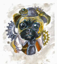 'Steampunk Pug' by Gaz-is-a-Cookie Pug Life, Pugs, Steampunk, Cookie, The Incredibles, Artists, Tattoo, Quilts, Patterns