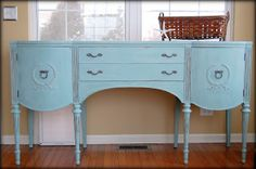 robins egg blue neoclassical console table.