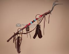 This is a very unique Native American Antler Medicine stick which is used by American Indian's medicine man or shaman for spiritual healing, medicine and prayer. This is an actual Native made medicine