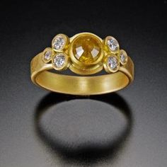 Yellow Diamond Ring with Diamond Trios | Ananda Khalsa Jewelry