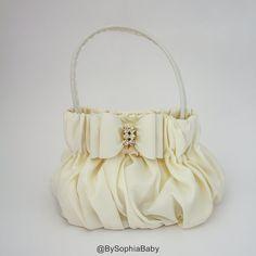Baby Handbag Purse Ivory Purse Flower Girl Purse by BySophiaBaby