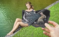 A fine line: A blonde has her polka dot dress tugged at by a bunny rabbit.   Belgian artist, Ben Heine blurs the line between art and reality by blending photographs of people and landscapes with his own pencil sketches.  Read more: http://www.dailymail.co.uk/news/article-2177716/Pencil-versus-camera-Belgian-artist-mind-bending-blend-art-reality.html#ixzz2FQv01jDZ
