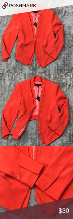NWT Reese + Riley asymmetrical orange crop blazer New w tags Reese & Riley orange crop blazer. Asymmetrical w/ crop cut in the back. Double lapel illusion. Fully lined. Size 8 medium. This is a finer piece with excellent materials and craftsmanship. Split sleeve detail. Mandarin collar. This would look awesome with a pair of dark blue skinnies or flats & is very versatile. NOT your average blazer. Be a stand out! Forgiving fit as there is no closure. Measured flat- chest 19' waist 18' arm…