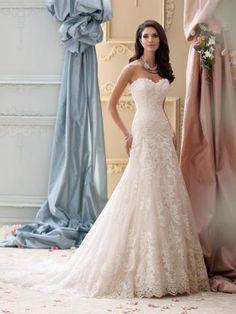 David Tutera Meerjungfrau Romantische Traumhafte Brautkleider aus Softnetz mit Applikation