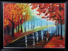 The Vibrant colors of red maple trees and the rainy climate along with the couple adds romantic feel to the painting.