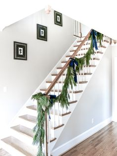I got a nail gun for Christmas and put it to work right away by adding molding to my entryway and stairway. Wall Trim Molding, Staircase Molding, Staircase Runner, Diy Molding, Staircase Design, Molding Ideas, Moldings, Redo Stairs, Entryway Stairs